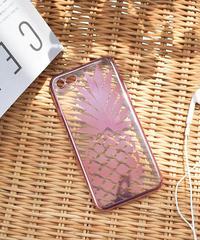 mb-iphone-02441 ピンク パイナップル クリア iPhoneケース