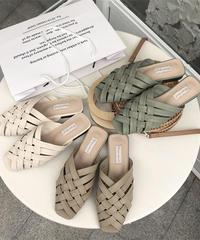 shoes-02082 クロス編み エコレザーサンダル エクリュ ベージュ ライトカーキ