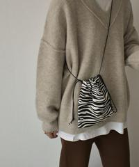 nh- bag2-02547 ゼブラ柄 ショルダー 巾着バッグ