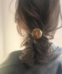 mb-hair2-02024 エンボス加工メタルサークル ヘアゴム ゴールド シルバー