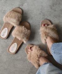 shoes-02027  ベージュ ラビットファーサンダル 2タイプ