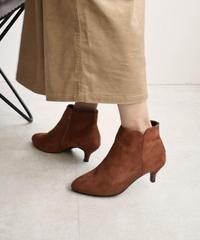 shoes-02089 スエード アンクルブーツ キトゥンヒール ブラウン ブラック