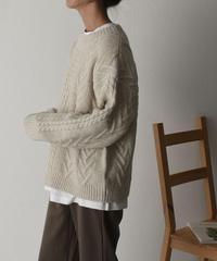 knit-02068 ウール混 ケーブル柄 クルーネックニットプルオーバー ベージュ グレー