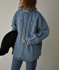 2月上旬入荷分 予約販売 tops-02203 ダブルポケット  オーバーデニムシャツ