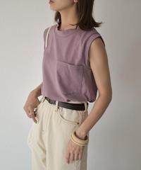 nh-tops-04043 日本製 ポケット付き タンクトップ  オフホワイト キャメルブラウン ダスティパープル  チャコール
