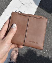 wallet-02064 シンプルフェイクレザー 二つ折り財布 小銭入れ付き ウォレット ブラック ブラウン