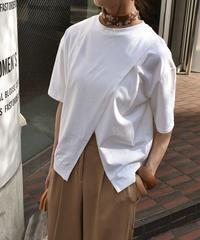 nh-tops-02072 フロントスリットデザイン Tシャツ ホワイト ブラック