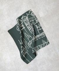 mb-scarf-02006 アーキテクチャ柄スカーフ グリーン
