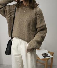 knit-02065 ウール混 クルーネックニットプルオーバー オートミール カーキ