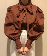 frill ribbon my blouse(brown)