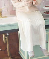 satin pleats skirt (ivory)