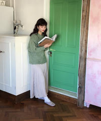 satin pleats skirt  (beige)
