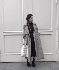 marron check coat