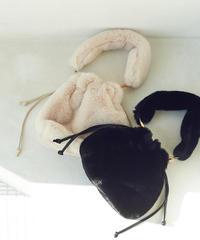 fake fur bag (ivory,black)