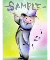 PC001 ポストカード「小鳥とフルートを吹く男の子」:なわりよこ