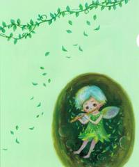 CF003 クリアファイル「フルートを吹く妖精」:こまつざきなおみ