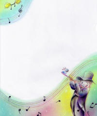 CF001 クリアファイル「小鳥とフルートを吹く男の子」:なわりよこ