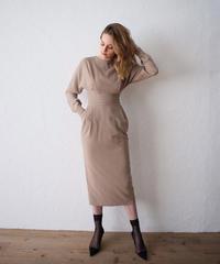 Tuck belt midi length dress