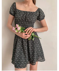 Flower pattern mini dress