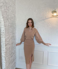 Collared fit knit dress