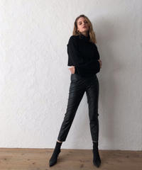 Tapered eco leather pants