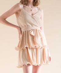 Pleats frill camisole dress