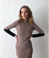 Color block long knit dress