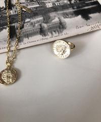 silver925 k18 coating bracelet&ring set