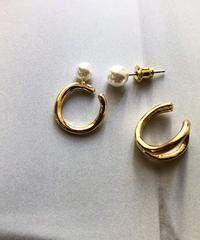 metal ear cuff & pearl pierce set