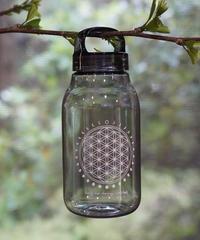 moon circle flower of life water bottle SMOKE