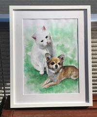 ペットの肖像画 pet portrait(2匹・A3)