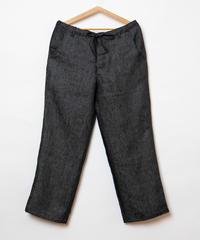 Black linen denim wide pants