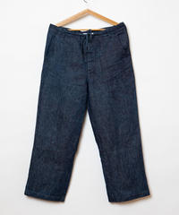 Linen denim wide pants