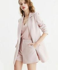 ピンクスーツセットアップ/ストライプステッチジャケット+ショートパンツ