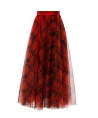 チェック柄シアーチュールでふんわりソフトロングスカート