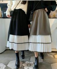 アシンメトリープリーツ異素材ミックスバイカラーロングスカート2色