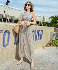 シアースリットスカート付きハイネックギャザータンキニ+フリルボトムスのセット2色