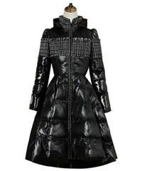 異素材ミックスロングワンピース風フレア中綿コート
