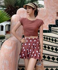 半袖タンキニ+コインドット柄スカートアシンメトリーフリルがかわいい水着3色