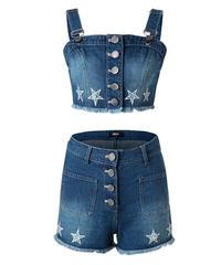 デニムセットアップ星刺繍キャミソール+ボタンフライショートパンツ