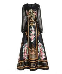 透け感シースルー袖異素材ミックスレトロな花柄ロングドレス