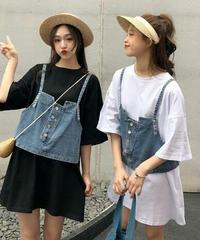レイヤードバイカラーコーデ/デニムキャミ+オーバーサイズTシャツ2色