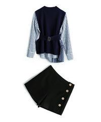 セットアップ/ストライプとプリーツシャツ+ニットベスト+ショートパンツ3セット