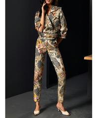 セットアップスーツ/高級感〇ジャカードマルチカラークロップドジャケット+パンツ