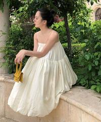 シャーベットカラーとワッシャープリーツキャミドレス/リネン素材ふんわりエアリー