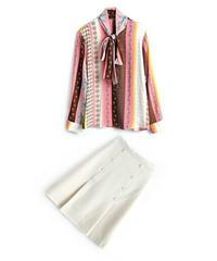 セットアップ上品なシルエットマルチストライプ&プリント/ボウタイシャツ+スカート