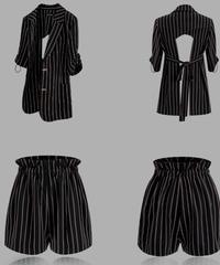 スーツセットアップ/バックシャンりぼん調節も〇ストライプジャケット+ショートパンツ