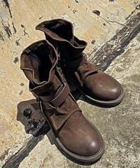 ボリュームレザーベルト付きスエード素材ミディ丈ブーツ4色