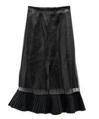 フェイクレザーとシアー異素材ミックスヘムプリーツロングスカート
