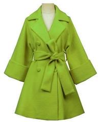 ベルト付き袖広めダブルボタンウエストベルトでかわいいメリハリラインコート